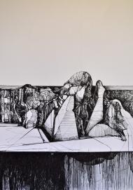 2. Landscape Contrived, Ink on Paper, 2016