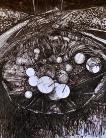 4. Landscape Contrived, Ink on Paper, 2016