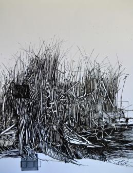 5. Landscape Contrived, Ink on Paper, 2016