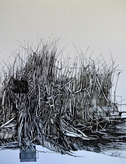 5. Landscape Contrived, Ink on Paper, 2016