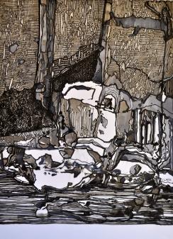 7. Landscape Contrived, Ink on Paper, 2016