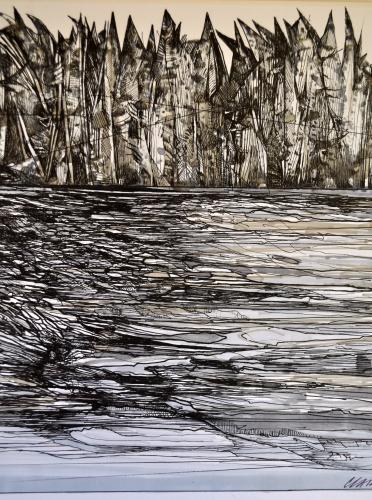 8. Landscape Contrived, Ink on Paper, 2016