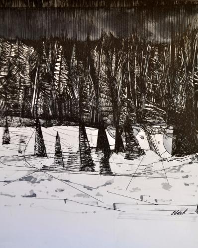 9. Landscape Contrived, Ink on Paper, 2016