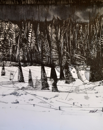 9. Landscape Contrived, Ink on Paper, 2016