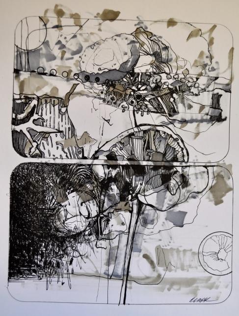 10. Landscape Contrived, Ink on Paper, 2016