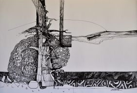 11. Landscape Contrived, Ink on Paper, 2016