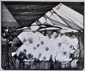 12. Landscape Contrived, Ink on Paper, 2016