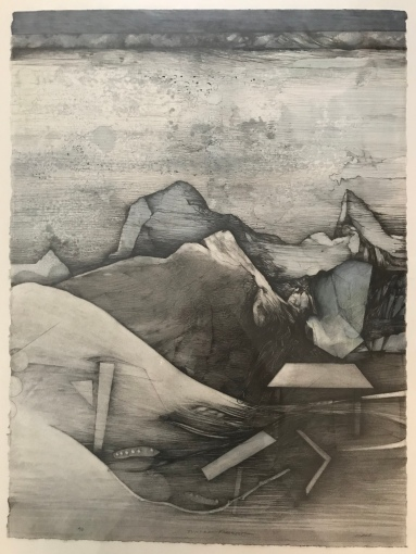 1.Water Table Series, Collagraph Drawing, 2017